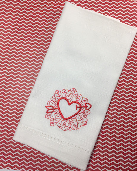 Arrow Heart Valentine's Day Cloth Napkins - White Tulip Embroidery