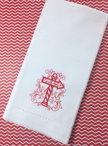 North Pole Christmas Cloth Napkins - Set of 4 napkins - White Tulip Embroidery