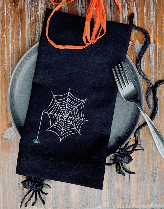 Halloween Spider Napkins - Set of 4 cloth napkins-White Tulip Embroidery