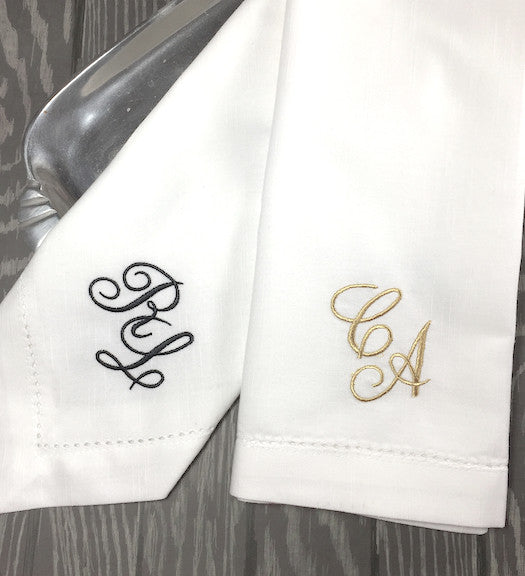Two Initial Script Monogrammed Cloth Napkins - Set of 4 napkins - White Tulip Embroidery
