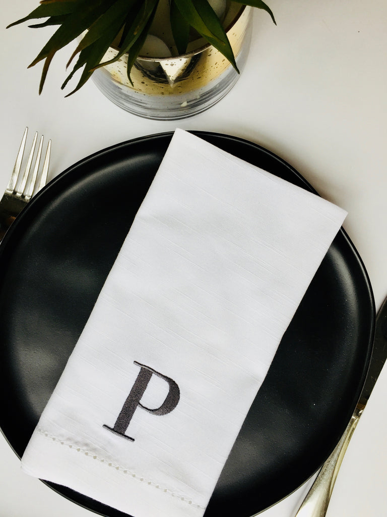 Type Font Monogrammed Cloth Dinner Napkins - Set of 4 napkins