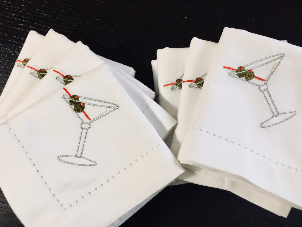 Martini Drink Cloth Napkins - Set of 4 napkins - White Tulip Embroidery