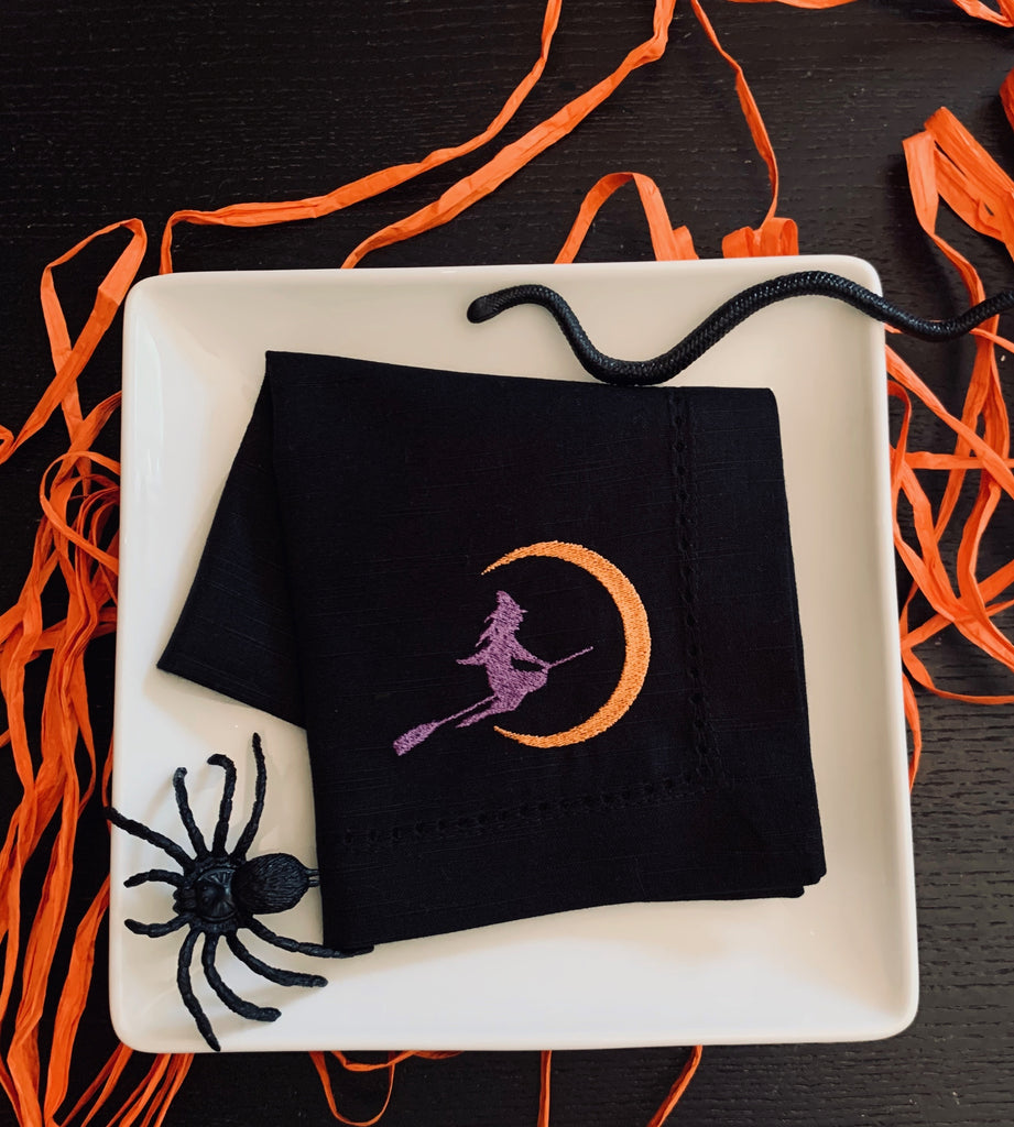 Flying Witch Halloween Embroidered Cloth Napkins - Set of 4 napkins-White Tulip Embroidery