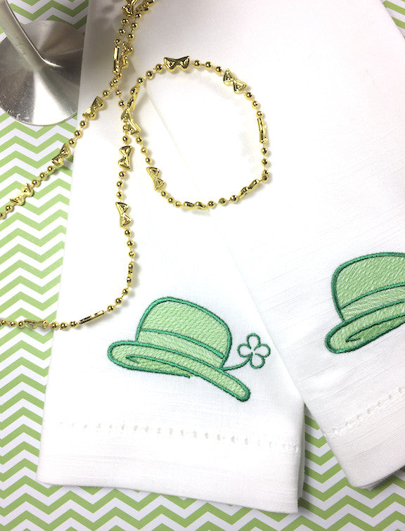 Leprechaun Hat St. Patrick's Day Cloth Napkins - Set of 4 napkins-White Tulip Embroidery