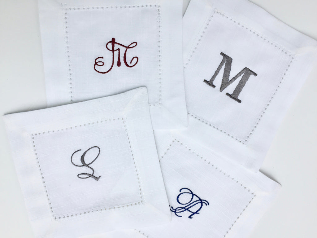 Set of 4 Monogrammed White Cocktail Napkins-White Tulip Embroidery