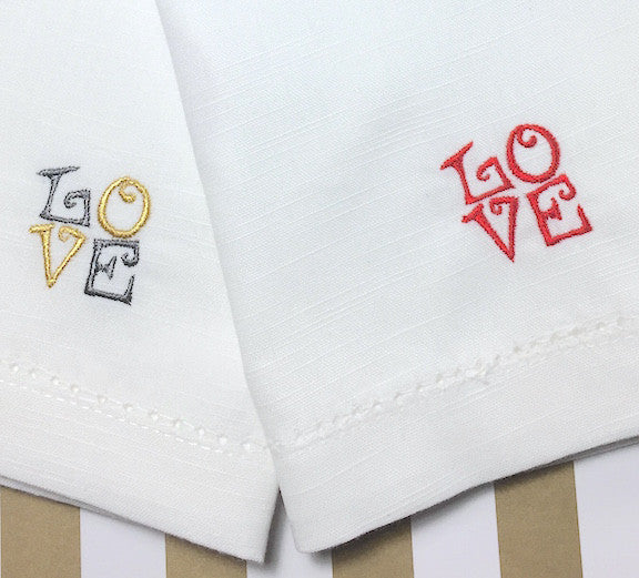 Love Embroidered Cloth Napkins - Set of 4 napkins - White Tulip Embroidery