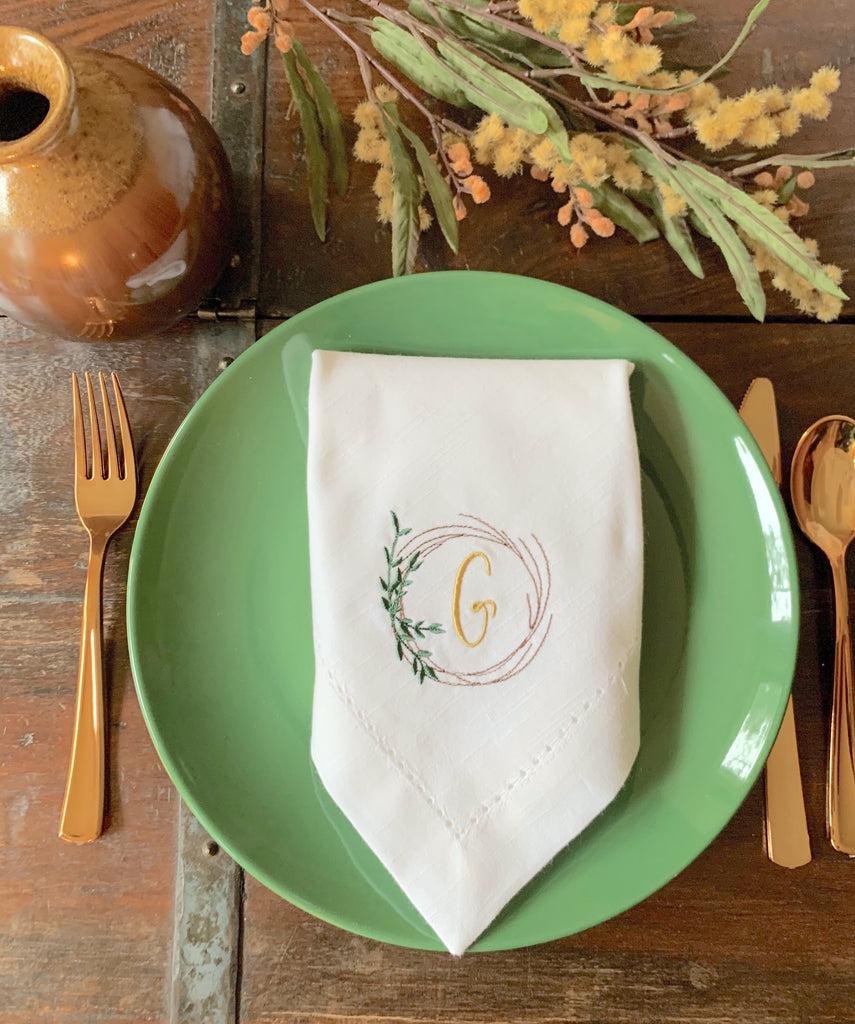 Autumn Leaf Wreath Monogrammed Cloth Napkins - Set of 4 napkins-White Tulip Embroidery