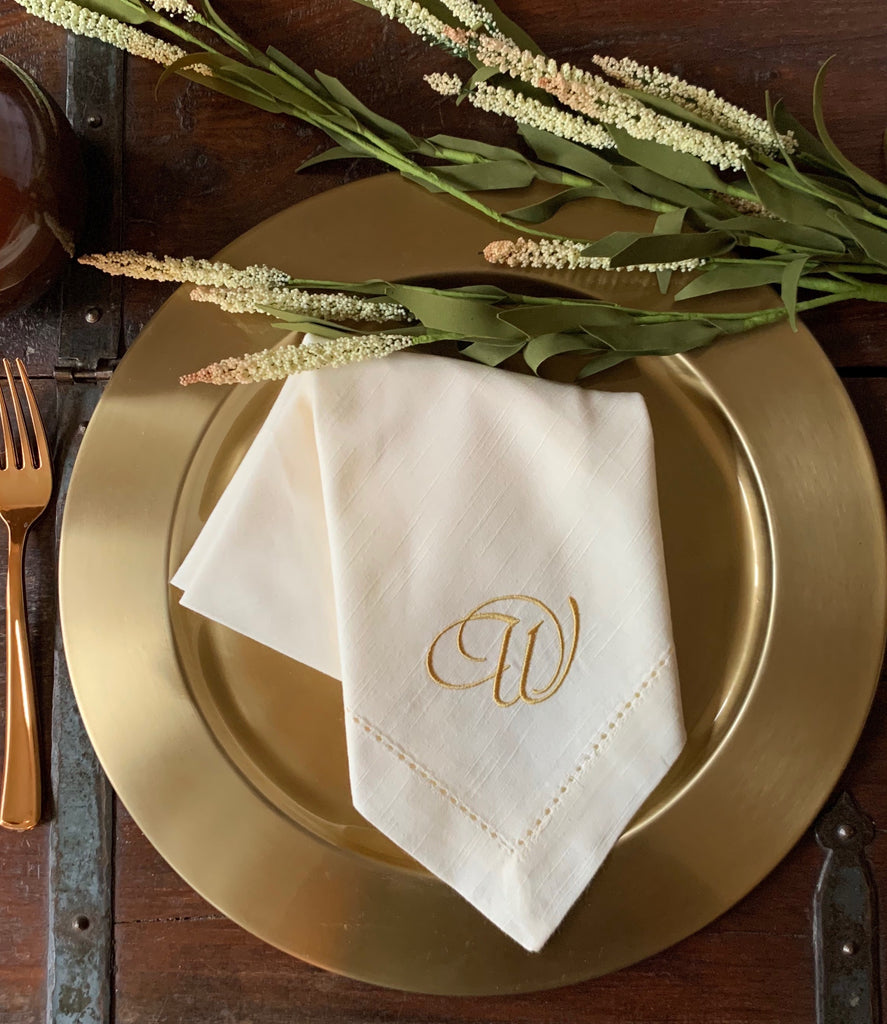 Formal Style Monogrammed Cloth Dinner Napkins - Set of 4 napkins-White Tulip Embroidery