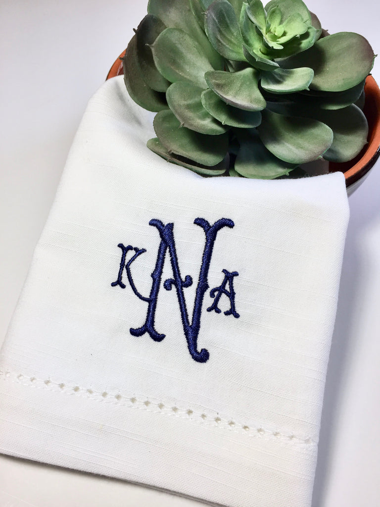 Southern Monogrammed Embroidered Cloth Napkins - White Tulip Embroidery