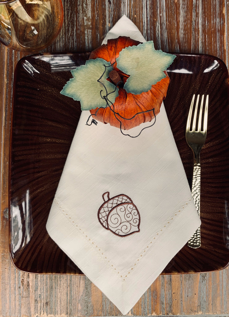 Autumn Acorns Cloth Napkins - Set of 4 napkins-White Tulip Embroidery