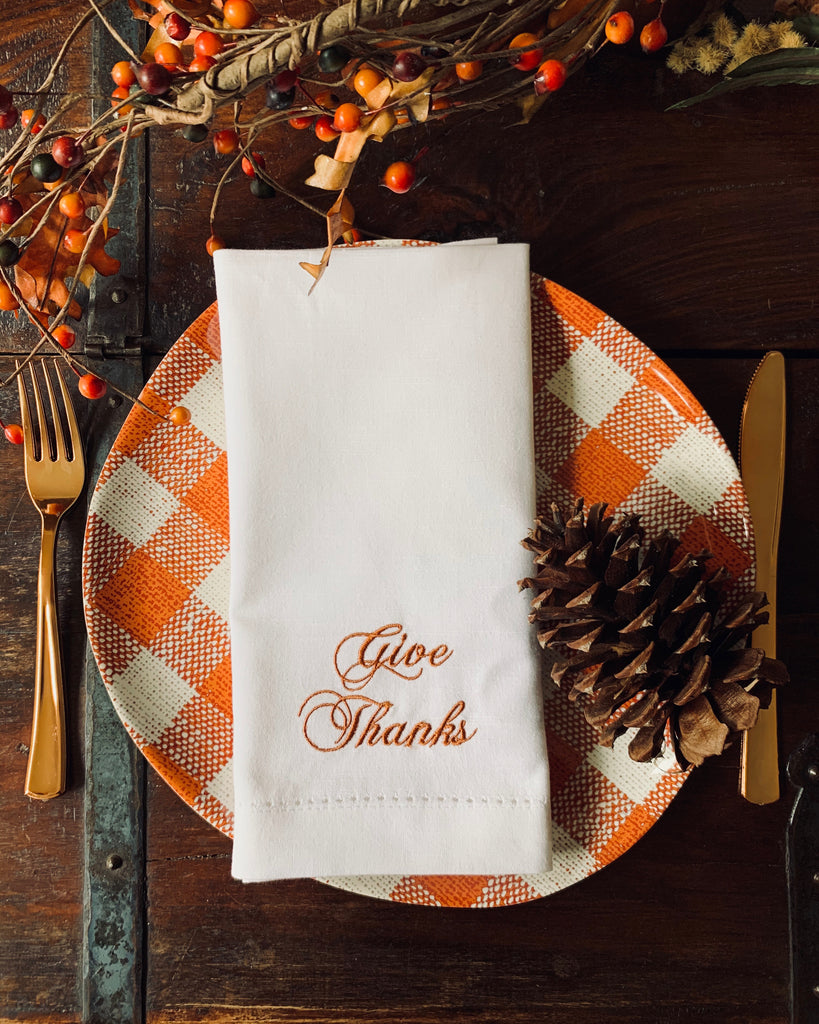 Give Thanks Thanksgiving Embroidered Cloth Dinner Napkins - Set of 4 napkins-White Tulip Embroidery