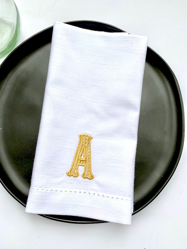 Dalia Monogrammed Embroidered Cloth Dinner Napkins - Set of 4 napkins - White Tulip Embroidery