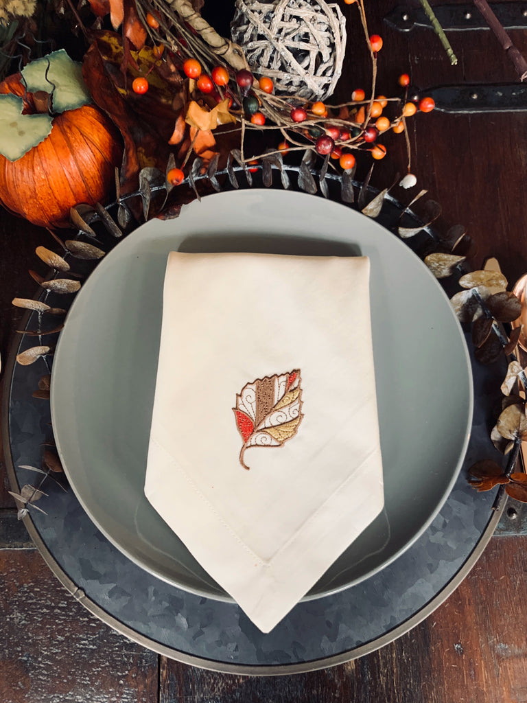 Thanksgiving Autumn Leaf Cloth Dinner Napkins - Set of 4 napkins-White Tulip Embroidery