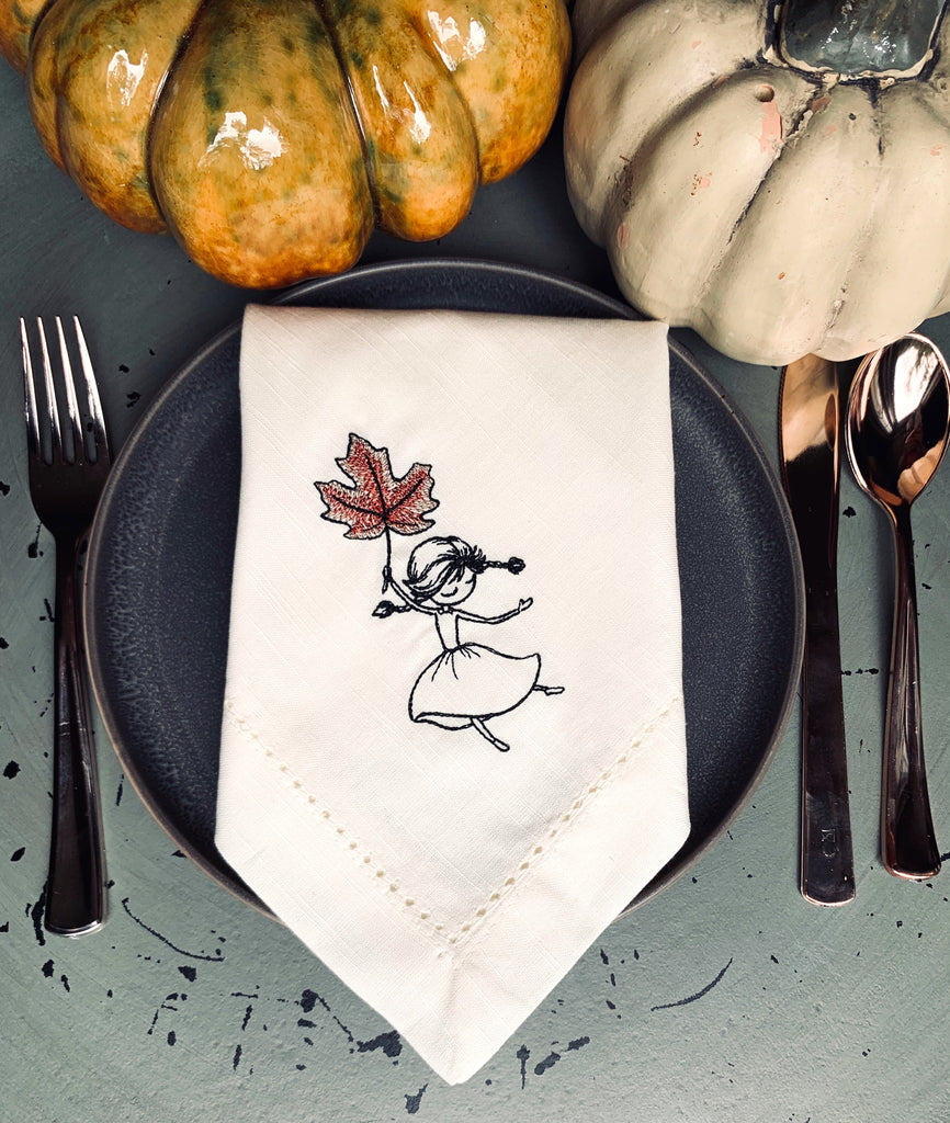 Thanksgiving Leaf Girl Cloth Napkins - Set of 4 napkins-White Tulip Embroidery