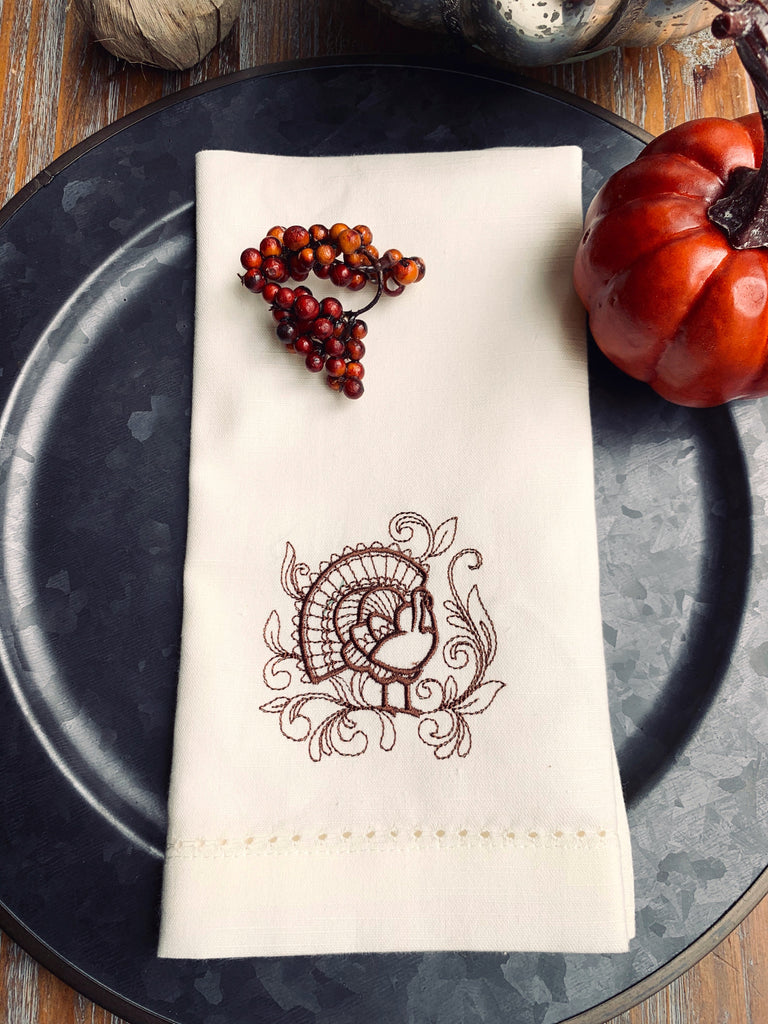 Thanksgiving Turkey Cloth Dinner Napkins - Set of 4 napkins-White Tulip Embroidery