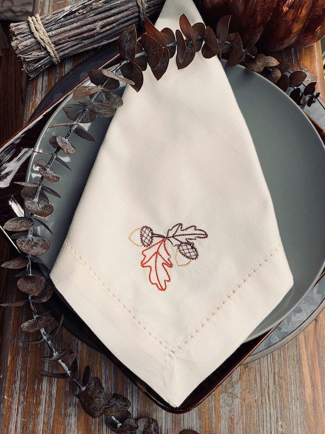 Thanksgiving Acorn Cloth Napkins - Set of 4 napkins-White Tulip Embroidery