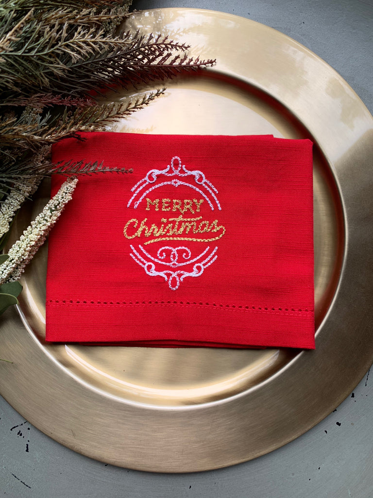 Merry Christmas Cloth Napkins - Set of 4 Christmas napkins-White Tulip Embroidery