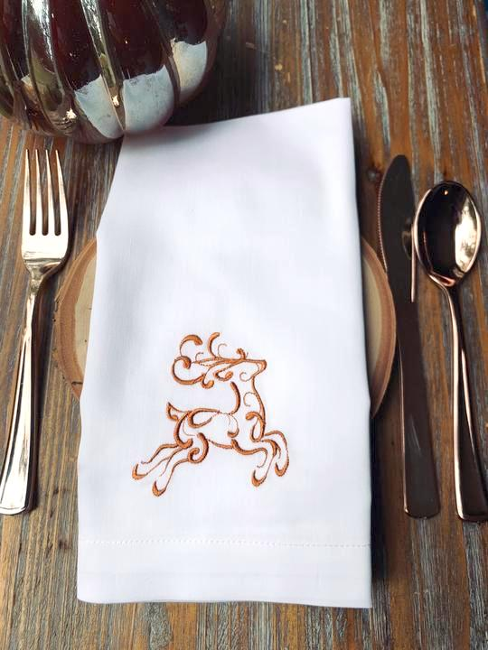 Reindeer Christmas Embroidered Cloth Napkins - Set of 4 napkins-White Tulip Embroidery