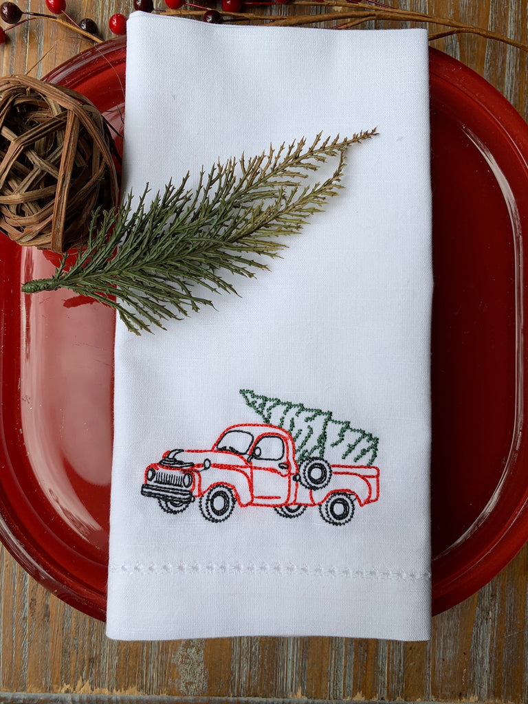 Christmas Truck Cloth Napkins-White Tulip Embroidery