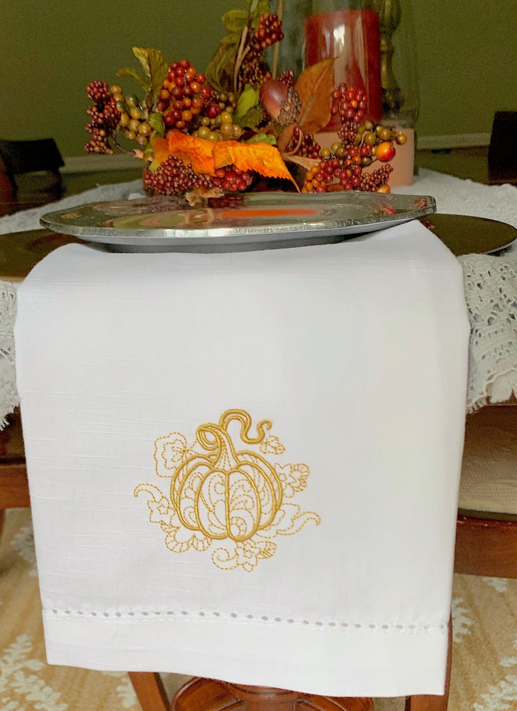 Pumpkin Swirl Cloth Napkins - Set of 4 napkins-White Tulip Embroidery