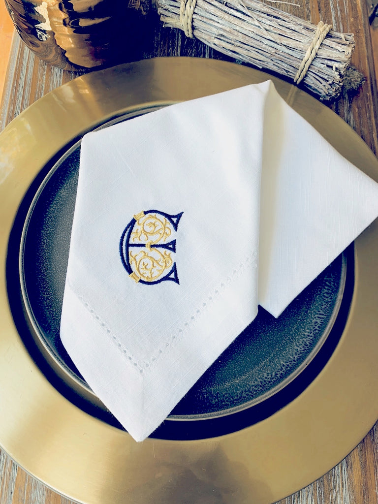 Scroll Monogrammed Embroidered Cloth Napkins - Set of 4 napkins-White Tulip Embroidery