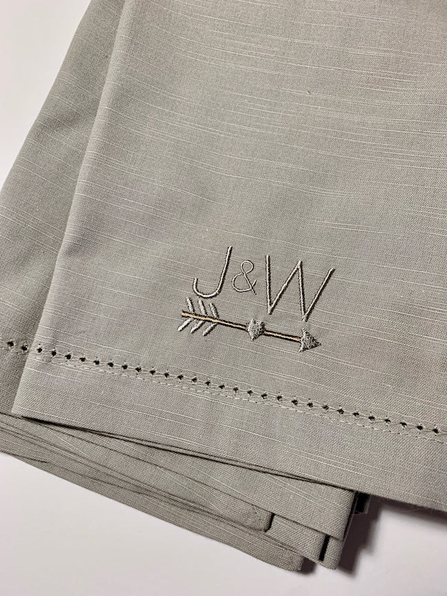 Arrow Monogrammed Napkins - Set of 4 napkins-White Tulip Embroidery