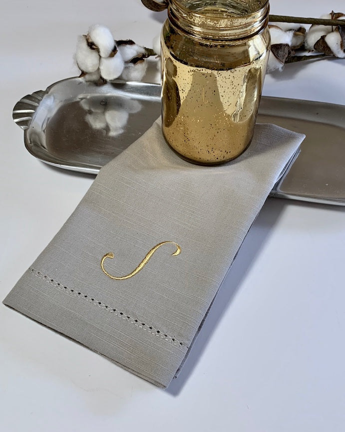 Monogrammed Grey Napkins - Set of 4 dinner gray napkins - White Tulip Embroidery