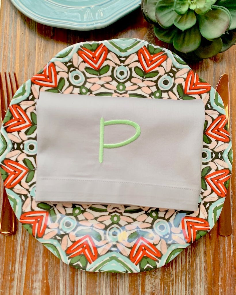 Slim Print Monogrammed Embroidered Cloth Dinner Napkins - Set of 4 napkins-White Tulip Embroidery