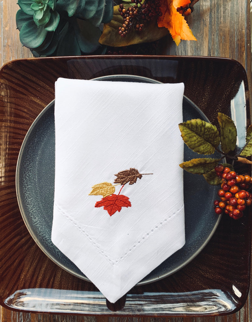 Thanksgiving Leaves Cloth Napkins - Set of 4 napkins-White Tulip Embroidery