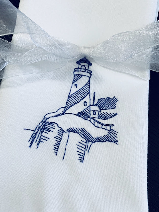 Lighthouse Embroidered Cloth Napkins - Set of 4 napkins-White Tulip Embroidery