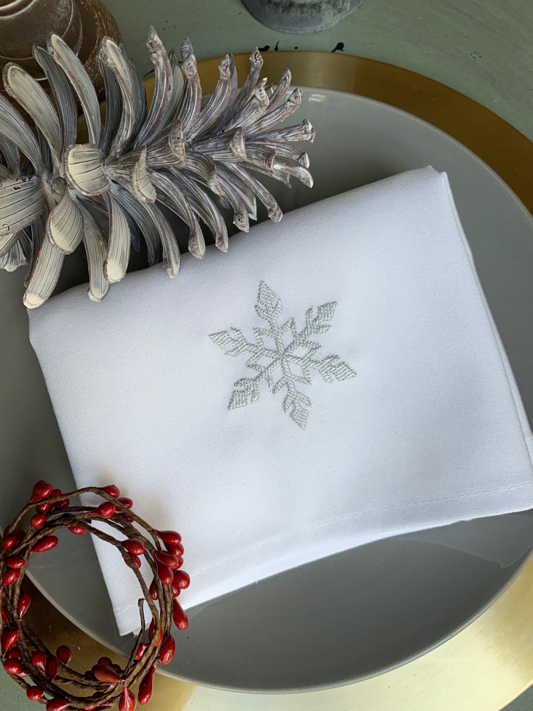 Snowflake Cloth Napkins - Set of 4 napkins-White Tulip Embroidery
