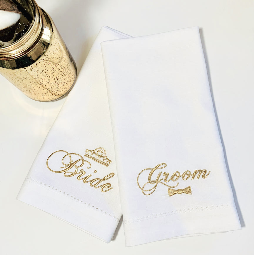 Crown Bride and Bow tie Groom Wedding Cloth Napkins-Set of 2 napkins - White Tulip Embroidery
