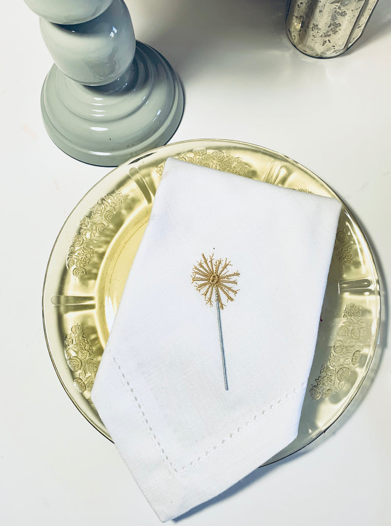 Sparkler July 4th Embroidered Cloth Napkins - Set of 4 napkins-White Tulip Embroidery