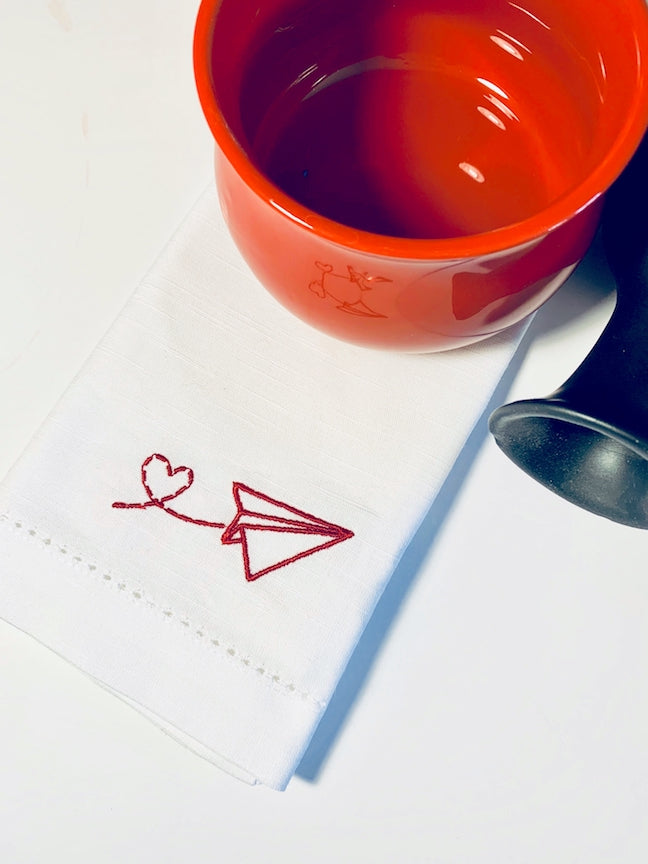 Paper Airplane Cloth Napkins - White Tulip Embroidery