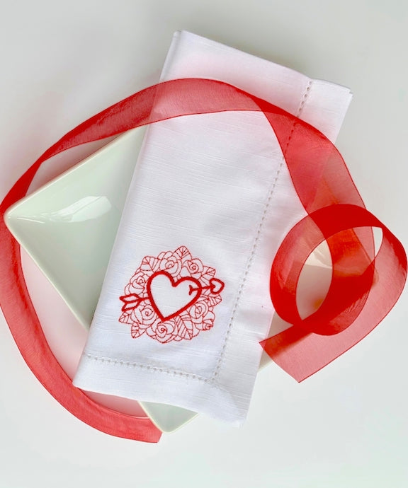 Arrow Heart Valentine's Day Cloth Napkins-White Tulip Embroidery