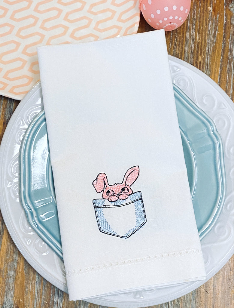 Pocket Easter Bunny Cloth Napkins - Set of 4 napkins