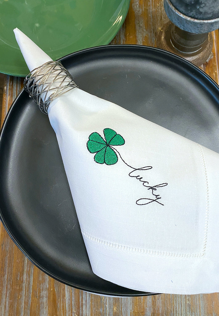 St. Patrick's Day Lucky Shamrock Cloth Napkins - Set of 4 napkins