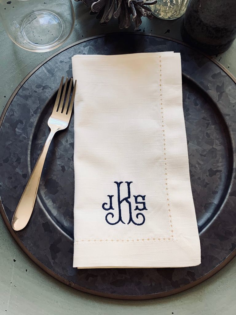 Verona Monogrammed Embroidered Cloth Napkins