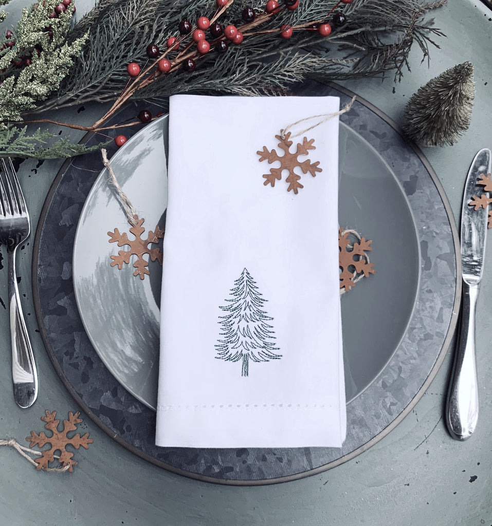 Woodland Christmas Tree Embroidered Cloth Napkins - Set of 4 napkins