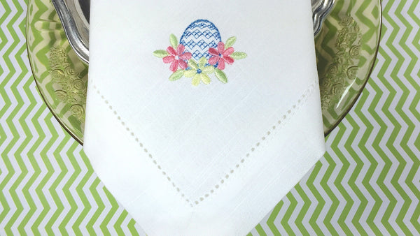 Easter Egg Embroidered Cloth Napkins - Set of 4 napkins - White Tulip Embroidery
