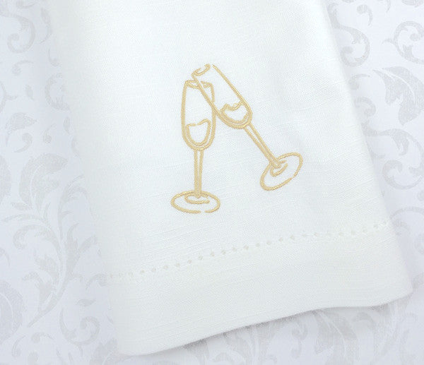 Cheers Cloth Wedding Napkins - Set of 4 napkins - White Tulip Embroidery