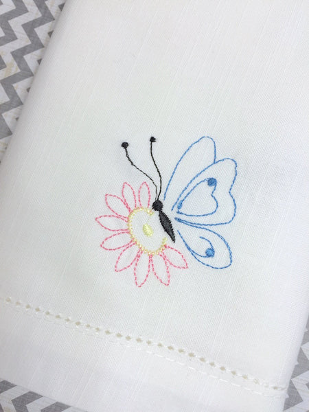 butterfly embroidered cloth napkins, butterfly cloth napkins, butterfly gift, butterfly napkins
