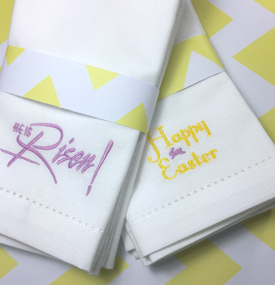 He Is Risen Easter Cloth Napkins - Set of 4 napkins - White Tulip Embroidery