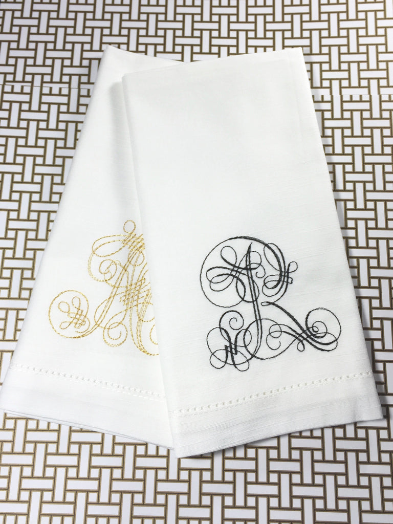 Serene Monogrammed Cloth Napkins - Set of 4 napkins - White Tulip Embroidery