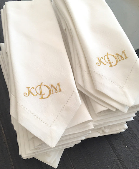 3 Letter Bulk Monogrammed Wedding Napkins, Set of 50, Embroidered Cloth Dinner Napkins - White Tulip Embroidery