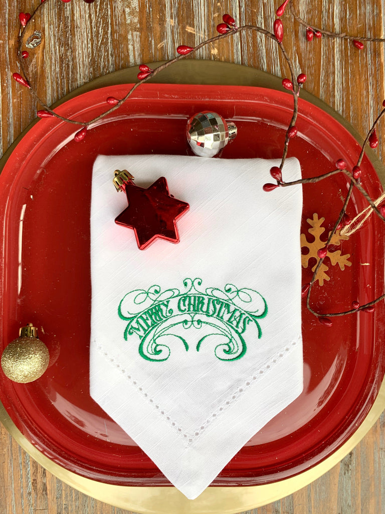 Vintage Merry Christmas Cloth Napkins - Set of 4 Christmas napkins