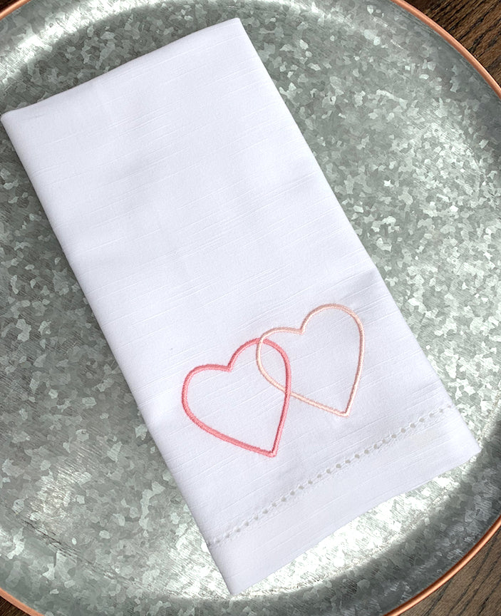 Love Hearts Embroidered Cloth Napkins - Set of 4 napkins-White Tulip Embroidery