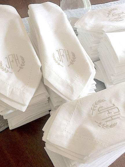 3 Letter Bulk Monogrammed Wedding Napkins, Set of 100, Embroidered Cloth Dinner Napkins - White Tulip Embroidery