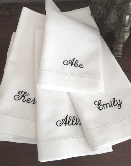 Personalized Wedding Party Monogrammed Name Napkins, Set of 6 names napkins - White Tulip Embroidery