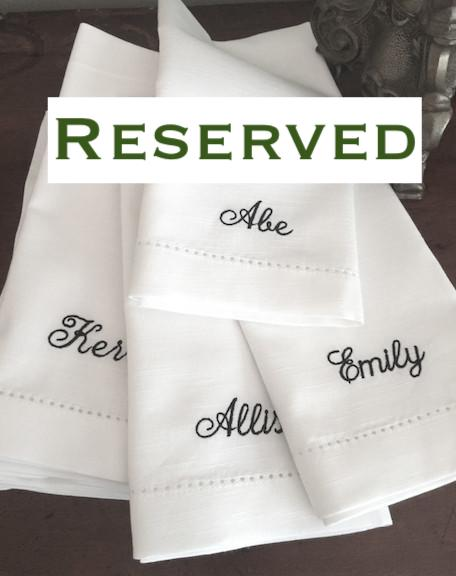 Set of 54 Monogrammed Name Napkins